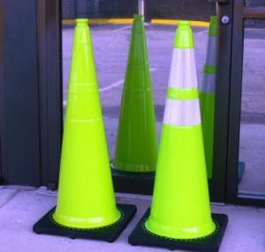 Lime Green Traffic Cones for School Zones