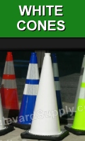 28 Inch White Traffic Cones for Valet and Parking Lot