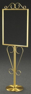 22x28 Fancy Elegant Scroll Brass Sign Holder