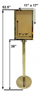Brass Stanchion With Sign Holder