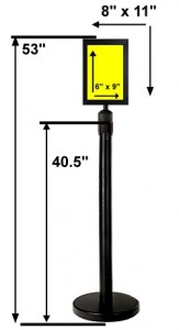 Stanchion With 8x11 Sign Holder