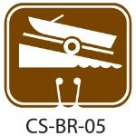 Park Service Brown Boat Ramp Traffic Cone Signs