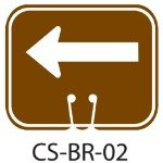 Park Service Brown LEFT ARROW Traffic Cone Signs