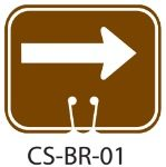 Park Service Brown RIGHT ARROW Traffic Cone Signs