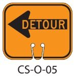 Orange DETOUR LEFT Traffic Cone Signs