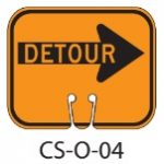 Orange DETOUR RIGHT Traffic Cone Signs