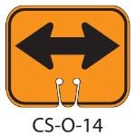 Orange DOUBLE TWO HEAD ARROW Traffic Cone Signs