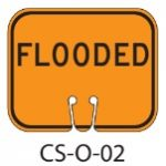Orange FLOODED Traffic Cone Signs