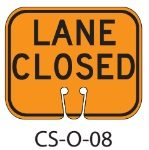 Orange LANE CLOSED Traffic Cone Signs