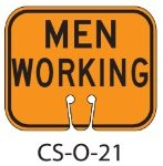 Orange MEN WORKING Traffic Cone Signs