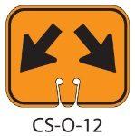 Orange SPLIT LANE ARROWS Traffic Cone Signs