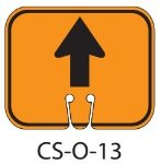 Orange GO STRAIGHT FORWARD ARROW Traffic Cone Signs