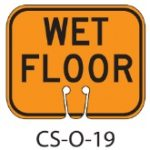 Orange WET FLOOR Traffic Cone Signs