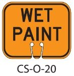 Orange WET PAINT Traffic Cone Signs