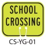 School Zone Green School Crossing Traffic Cone Signs