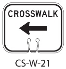 White CROSSWALK Left Traffic Cone Signs