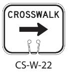 White CROSSWALK Right Traffic Cone Signs
