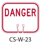 Red White DANGER Traffic Cone Signs