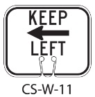 White KEEP LEFT Traffic Cone Signs
