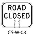 White ROAD CLOSED Traffic Cone Signs