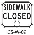 White SIDEWALK CLOSED Traffic Cone Signs