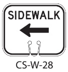 White SIDEWALK Left Traffic Cone Signs