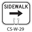 White SIDEWALK Right Traffic Cone Signs