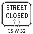 White STREET CLOSED Traffic Cone Signs