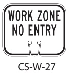 White WORK ZONE Traffic Cone Signs