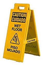 Yellow Wet Floor Sign Bilingual 03-600-36