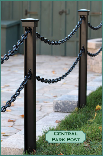 Decorative landscape post and chain barriers commercial grade