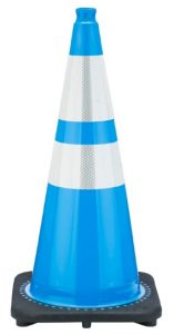 JBC 28 Inch High Light Blue Traffic Cone with Reflective Collars