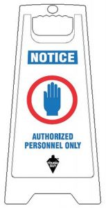 Authorized Personnel Only Floor Sign White