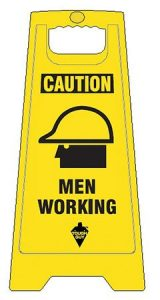 Men Working Floor Sign Yellow