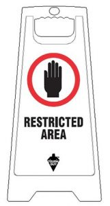 Restricted Area Floor Sign White