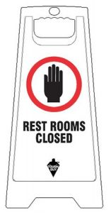 Restrooms Closed Floor Sign White