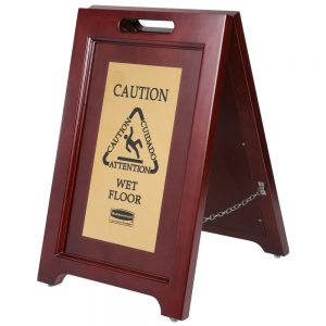 Wooden Wet Floor Signs With Gold Brass Plate