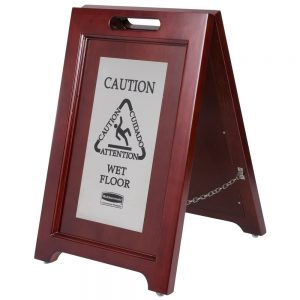 Wooden Wet Floor Sign With Stainless Steel Silver Plate