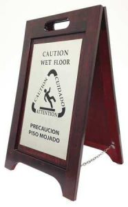 Wooden Wet Floor Sign With Bronze Plate