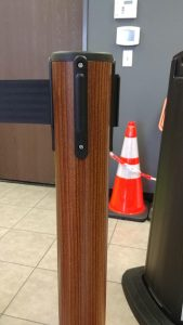 Wood Retractable Belt Stanchion Barrier