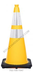 28 inch Yellow Reflective Traffic Cone RS70032C-YELLOW-3M64
