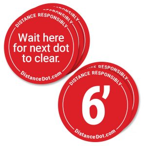 Red Round Social Distancing Floor Stickers
