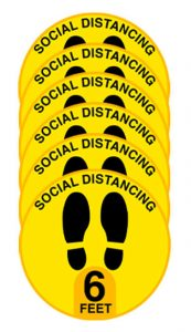 Yellow Round Social Distancing Floor Stickers