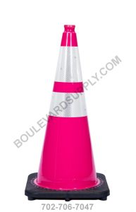 28 inch Pink Reflective Safety Traffic Cone RS70032C-PINK-3M64